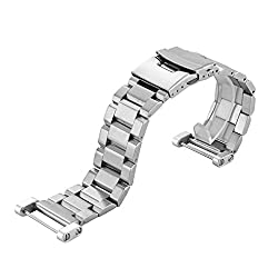 Transer® Stainless Steel Watch Strap+ Lugs Adapters + Tools For Suunto Core Watch Band (Silver)