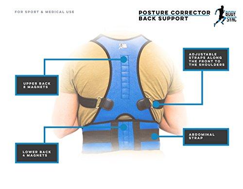 Postura Corrector de Espalda Magnético de neopreno apoyo–hombros, espalda y Lumbar Apoyo–discreto debajo de la ropa–transpirable y ajustable Cintura Cinturón Cinta–Ideal para usar tanto en su mesa o en el gimnasio–utilizado para corrección de postura, evitar espalda, dolor de espalda/Lesiones, Artritis, osteo-arthritis, redondo hombro, hombro dolor, espalda, Bad Dolores etc.