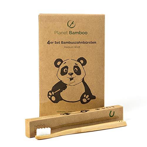 Planet Bamboo ♻ Paquete de 4 cepillos de dientes de bambú (adultos   blanco   mediano), cerdas de masaje