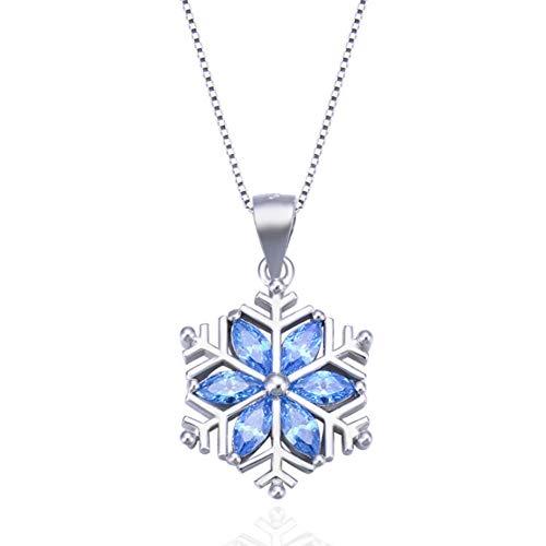 XINGYU Halsketten Fur Frauen Herz Blau Silber 925 Fein Edelstahl Fossil Rosegold Stern Mehrreihig AnhäNger Mit Eingelegten Schneeflocken, Silver