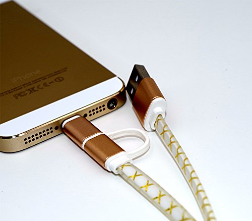 Preisvergleich Produktbild 2 in 1 (1m) Lighting + Mikro USB 2.0 Ladekabel, Mikro USB nach USB, Ladekabel, Synchronisationskabel – Apple & Smartphone Android kompatibel - Gelb