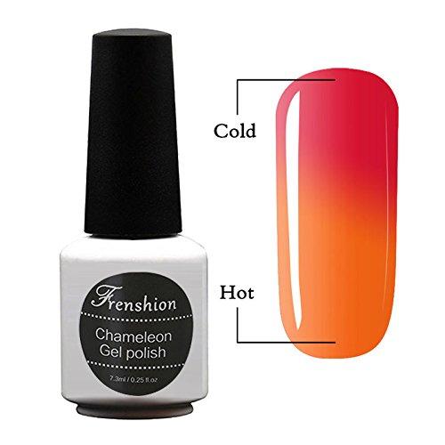 Frenshion 7.3ml Vernis à Ongles Caméléon Semi Permanent UV/LED Gel Polish Soak-Off Base Top Couleur Température Changée 50