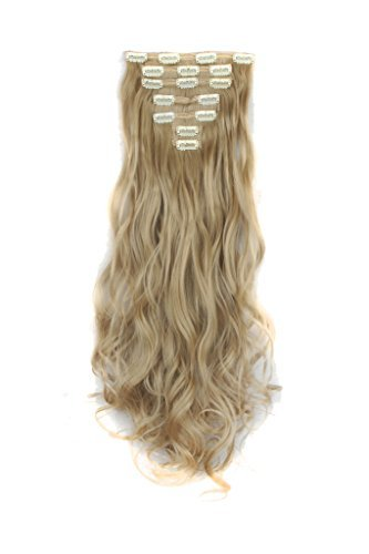 Sexy_Forever Double weft Clip in on Double Weft Hair Extensions 7Pcs Full Head 16 Clips 23-24 Inch Real Thick Curly Straight with 40 Style For Women Girls Laydies