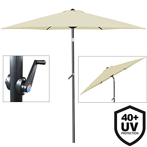 Deuba® Sonnenschirm • Ø 200cm • UV-Schutz 40+ • mit Kurbel und Neigefunktion • wasserabweisend • Aluminium - Kurbelschirm Gartenschirm beige