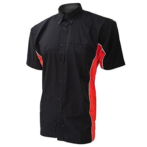 Gamegear Sportsman Hemd für Männer, kurzarm (XL) (Schwarz/Rot/Weiß)