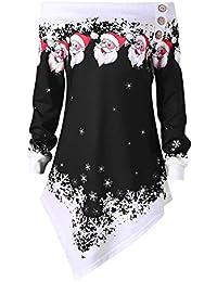 TIFIY Womens Christmas Sweatshirt, Schneeflocke Print Tops Party Pullover Lange Bluse Damen Casual Tops