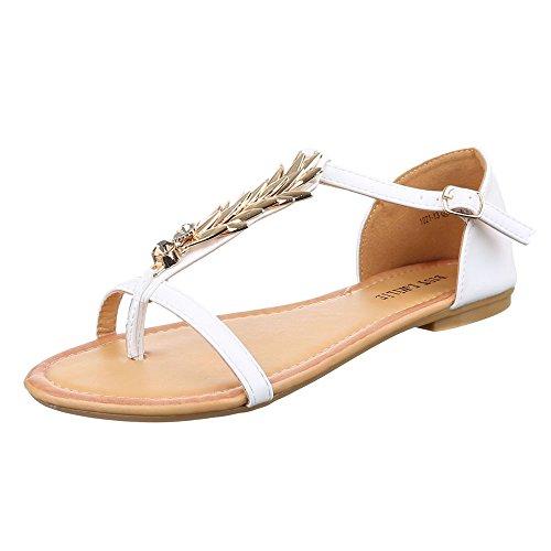 Damen Schuhe, 1021-13, SANDALEN, ZEHNENTRENNER MIT DEKO, Synthetik in hochwertiger Lederoptik , Weiß, Gr 40 (Vintage Keds)