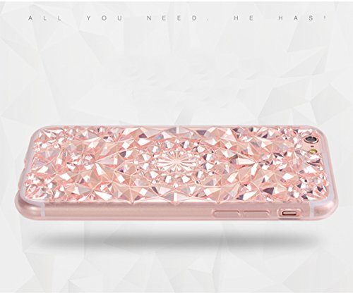 iPhone 6S(4.7 pollice) Cover, Bonice iPhone 6 Custodia, Lusso 3D Diamante Crystal TPU Ultra Clear Slim Bling Strass Case – Bianca Rose