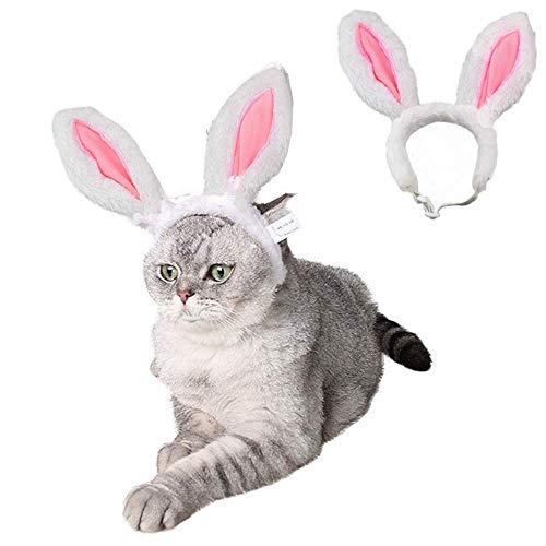 ANIAC Kopfbedeckung für Haustiere, weiches Haarband mit süßen Hasenohren, Warmer Hut, Kopf-Accessoires, Oster-Kostüm für Katzen, Welpen und kleine Hunde, Medium/Head Girth 15 Inch - 17 - Oster Kostüm