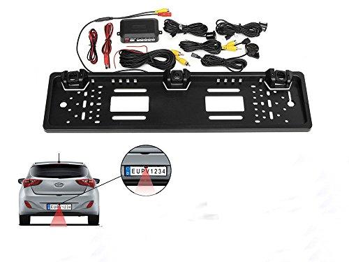 Vetrineinrete® porta targa con telecamera posteriore e 2 sensori di parcheggio per auto europea retromarcia portatarga camera e sensore con allarme sonoro c22