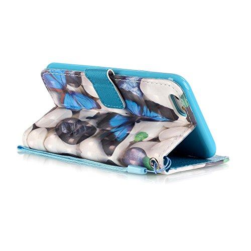 iPhone SE/5S/5 PU Custodia in pelle (con Gratuito HD Proteggi Schermo) CaseHome Elegante 3D Modello Foglio Stile del Libro Chiusura Magnetica Stand Caratteristica Portafoglio Progettare con Slot Titol Farfalla Azzurra
