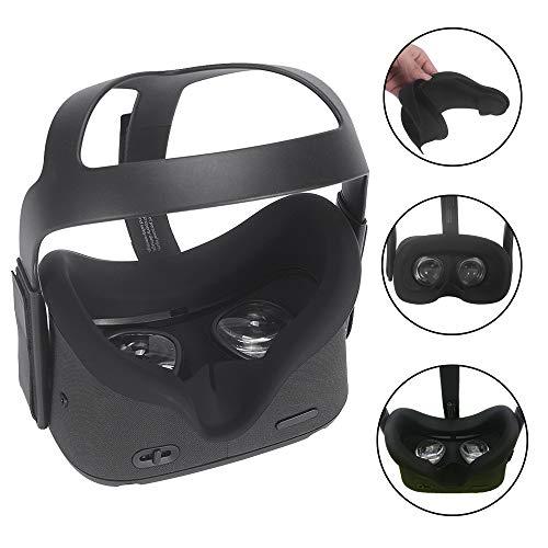 Carplink VR Maske für Oculus Quest VR Gaming Headset Silikon-Schutzhülle Hygiene Gesichtsmaske VR Masken VR Face Cover Augenmaske für Oculus Quest Schwarz