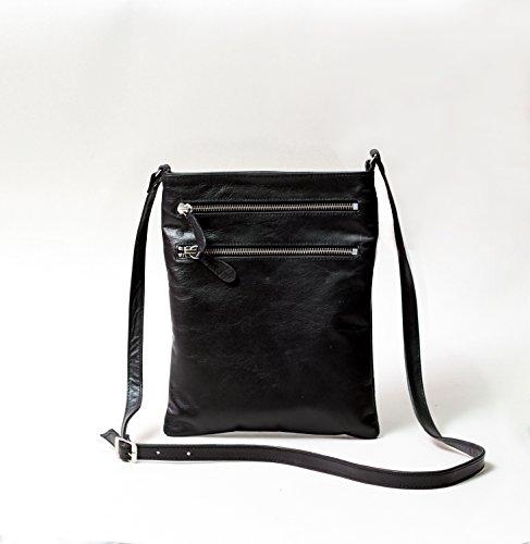 Donna in Pelle Croce corpo borsa con tracolla regolabile, colore: nero/marrone nero