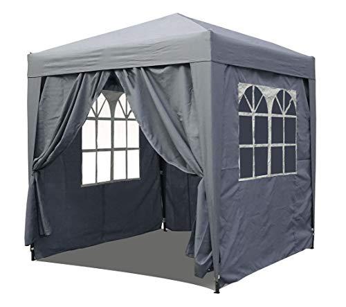 QUICK STAR Pop-Up-Pavillon 2 x 2 m Smoky Grau mit 4 Easy-Klett Seitenwänden 2 mit Reißverschlüssen.