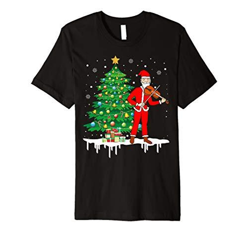 Weihnachtsmann, der Violine lustiges T-Shirt Geschenk spielt