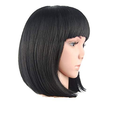 Perücke, 100% Echthaar, Brasilianisches echtes Haar, 31 cm lang, Bob mit Stirnfransen, schwarz, kurz, gerade kann gefärbt, getönt, gewellt werden. Hält ein Leben lang (Schwarze Cleopatra Perücke)