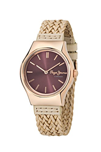 Pepe Jeans Joey Women's Quartz Watch with Red Dial Analogue Display and Beige Leather Strap R2351113501