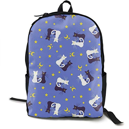 sghshsgh Rucksack für Hochschule,High School Picnic Walking Cycling Backpack Daypack Lightweight Polyester Anti-Theft Multipurpose Backpck Big Capacity Carry-On Bag, Black and White Cat Moon Star Boo -