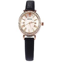 Leopard Shop kezzi Frauen Quarz Armbanduhr PU Leder Band Armbanduhr schwarz