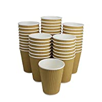 100 Pack 12 OZ Hot Paper Coffee Cups/Insulated Corrugated Ripple Paper Coffee Cups For Coffee, Tea, Hot or Cold Beverage by ZMYBCPACK