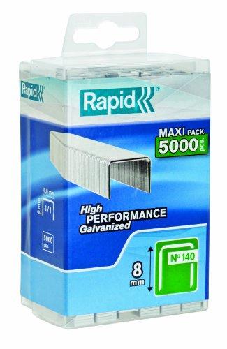Rapid, 40303089, Agrafes N°140, Longueur 8mm, 5000 pièces, Pour les travaux de construction et d'isolation, Fil galvanisé, Haute performance