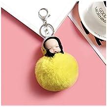 FOUGNOGKISSS Moda Soft Plush Ball Keychain Casco de la Motocicleta Sleeping Doll Keyring Ladies Bag Adornos