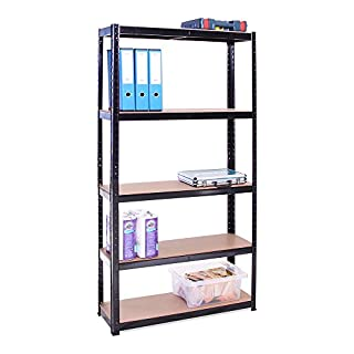 Garage Shelving Units: 180cm x 90cm x 30cm | Heavy Duty Racking Shelves for Storage - 1 Bay, Black 5 Tier (175KG Per Shelf), 875KG Capacity | For Workshop, Shed, Office | 5 Year Warranty