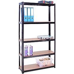 G-Rack Étagère de Rangement pour Garage, 180x 90 x 30cm, Noir, 5étagères (175kg par étagère), capacité de 875kg
