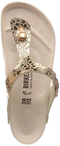 BIRKENSTOCK Damen Gizeh Birko-Flor Zehentrenner, Braun Metallic Stones Copper, 37 EU - Extra Breite Leder-sandalen