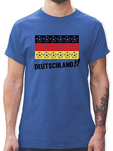 Fußball-Europameisterschaft 2020 - Deutschland WM Fußbälle - S - Royalblau - L190 - Tshirt Herren und Männer T-Shirts