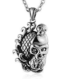 20976690079 Coniea Bijoux Collier Homme Chaine Tête De Crâne Sculptée Pendentif Collier  Argent