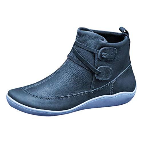 Damen Fläche PU Jahrgang Frauen Lässig Flacher Boden Stiefeletten Single Schuhe(Blau/Blue,39) -