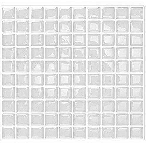 VANCORE 3D Mosaik-Sticker, Peel and Stick Fliesen Backsplash Kontaktpapier für Zuhause Küche, 4 Stück weiß -