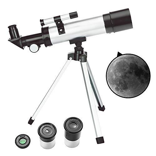 ToyerBee Teleskop für Kinder & Anfänger - 50 mm Blende 360 mm astronomisches Refraktor Teleskop, Dreibein & Suchrohr & Mondfilter - transportables Reiseteleskop