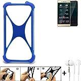 K-S-Trade Bumper für Allview P7 Pro Schutzhülle Handyhülle Silikon Schutz Hülle Cover Case Silikoncase Silikonbumper TPU Softcase Smartphone, Blau (1x), Headphones