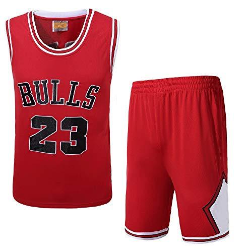 Männer Basketball Trikots Set - NBA Michael Jordan # 23 Chicago Bulls Basketball Uniform Sommer Besticktes Hemd Weste Shorts Top Combo Set,Reds(45~52kg) - Jordan Bestickt Shorts