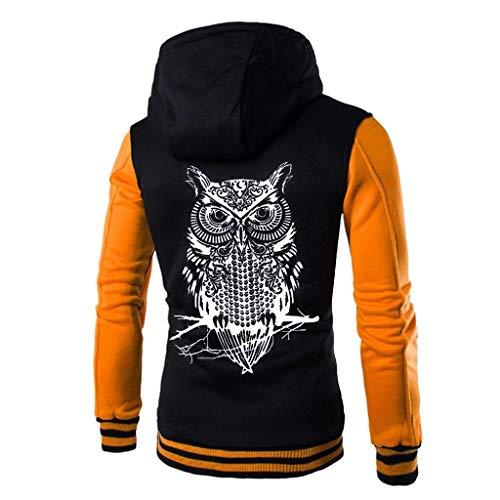 Hulky vendita di liquidazione plus size giacca con cappuccio per gli uomini aggiornamento manica lunga gufo stampa patchwork giacca pulsante cappotto outwear spessore(giallo,xxxx-large)