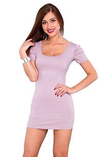 Futuro Fashion été Femmes robe Mini avec matelassé Manche Courte Col Carré Moulante Tunique Unique Tailles 8-14 UK 0186 Rose clair