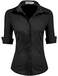 HOTOUCH Damen Hemd Bluse Basic Hemd 3/4 Ärmel Hemdbluse Damenbluse Arbeitshemd Freizeithemd Business Hemd