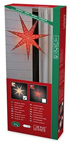 Konstsmide stella di carta, bianca, perforato e con motivo rosso stampato, 7punte, con cavo di collegamento con interruttore on/off, senza lampadina, E14supporto, 230V, interno, cavo bianco 2987-250