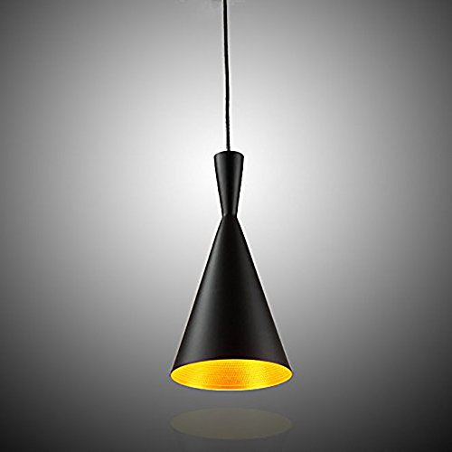 E27 Métal Vintage Suspensions Luminaire Lampes Retro Pendentif éclairage Industriel Antique Plafonnier Luminaire Aluminium éclairage de Plafond E27 Lampe LED Antique Suspensions Luminaire(Noire)