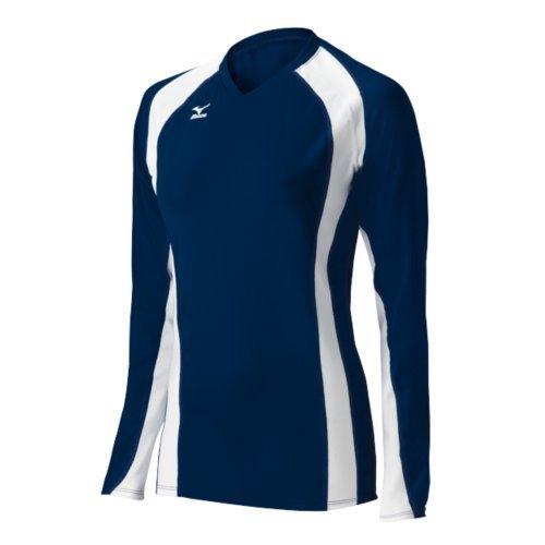 Mizuno Damen Volleyball Techno Volley V Long Sleeve Jersey, Damen, 440441.5100.03.XS, Marineblau/weiß, xs