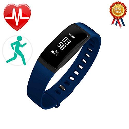 LCM Fitness-Armband, Smart Band, Activity Tracker, misst Herzfrequenz und Blutdruck, funktioniert als Schrittzähler und überwacht unseren Schlaf und die Kalorien S, blau
