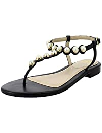 Saint G Leathers Women Black Flat Pearl Sandals Womens Gold Pearl T Strap Real Leather Sole Fashion Sandals
