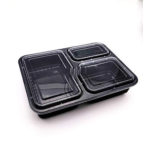 Contenitori per alimenti riutilizzabili 3 scomparti contenitori per alimenti privi di bpa da 1000 ml e vaschette di conservazione multiuso con coperchi per preparare i pasti e organizer,150packs