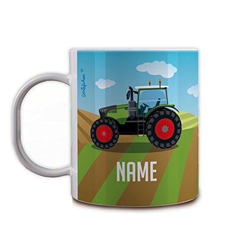 Land Frühstückstisch (Herz & Heim® Kunststoff Kindertasse - Traktor - mit Namen des Kindes)