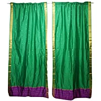 Mogul Interior 2 Green Window Curtain Rod Pocket Sari Sheer Panel Treatment Draperies 96X44