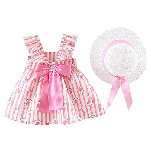 KIMODO Baby Mädchen Blumendruck Gerüscht Rundhals Kleid Ärmellose Urlaub Sommerkleid Kleinkind Prinzessin Kleidung Outfit + Hut Set (Womens Halloween-kostüme Ebay)
