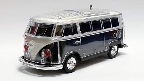Bluetooth Box Bus mit LED - Crystal Car Speaker Multimedia Radio mit MircroSD Slot USB (Schwarz)