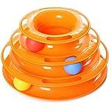 MissFox Juguetes Interactivo Mascotas - Torre de Pistas con Bolas - Juguete de Atracciones Plate Trilaminar Bola (Naranja)